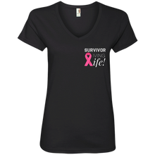 "Load image into Gallery viewer, ""Survivor Living Life"" Ladies' V-Neck T-Shirt"