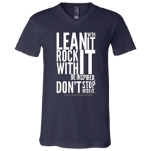 "Load image into Gallery viewer, ""Lean With It...""  Unisex Jersey SS V-Neck T-Shirt"