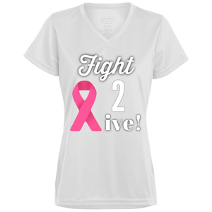 """Fight 2 Live"" Ladies' Wicking V-Neck"