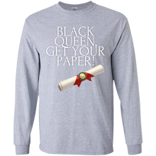 Load image into Gallery viewer, Black Queen Get Your Paper  Youth LS T-Shirt