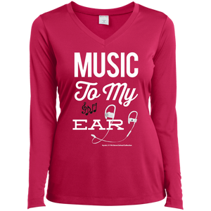 """Music To My Ear..."" Ladies' LS Performance V-Neck T-Shirt"