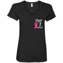 "Load image into Gallery viewer, ""Fight 2 Live"" Ladies' V-Neck T-Shirt"