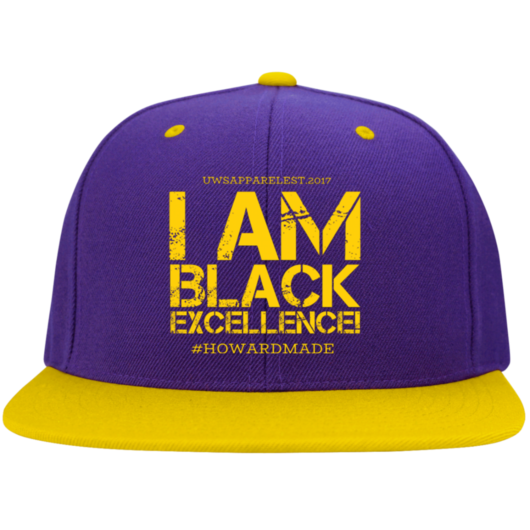 I AM BLACK EXCELLENCE  (Purple/Gold) Flat Bill High-Profile Snapback Hat