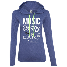 "Load image into Gallery viewer, ""Music To My Ear..."" Ladies' LS T-Shirt Hoodie"