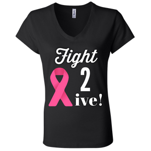 """Fight 2 Survive"" Ladies' Jersey V-Neck T-Shirt"