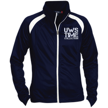 Load image into Gallery viewer, UWS TIME COLLECTION (white print) Ladies' Raglan Sleeve Warmup Jacket