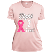 "Load image into Gallery viewer, ""Fight 2 Live"" Ladies' Wicking V-Neck"