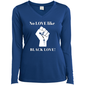 BLACK LOVE Sport-Tek Ladies' LS Performance V-Neck T-Shirt