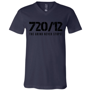 720/12 THE GRIND NEVER STOPS! Black print V-Neck T-Shirt
