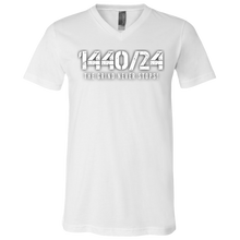 Load image into Gallery viewer, 1440/24 THE GRIND NEVER STOPS! White print V Neck T-Shirt