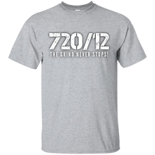 Load image into Gallery viewer, 720/12 THE GRIND NEVER STOPS! White print T-Shirt