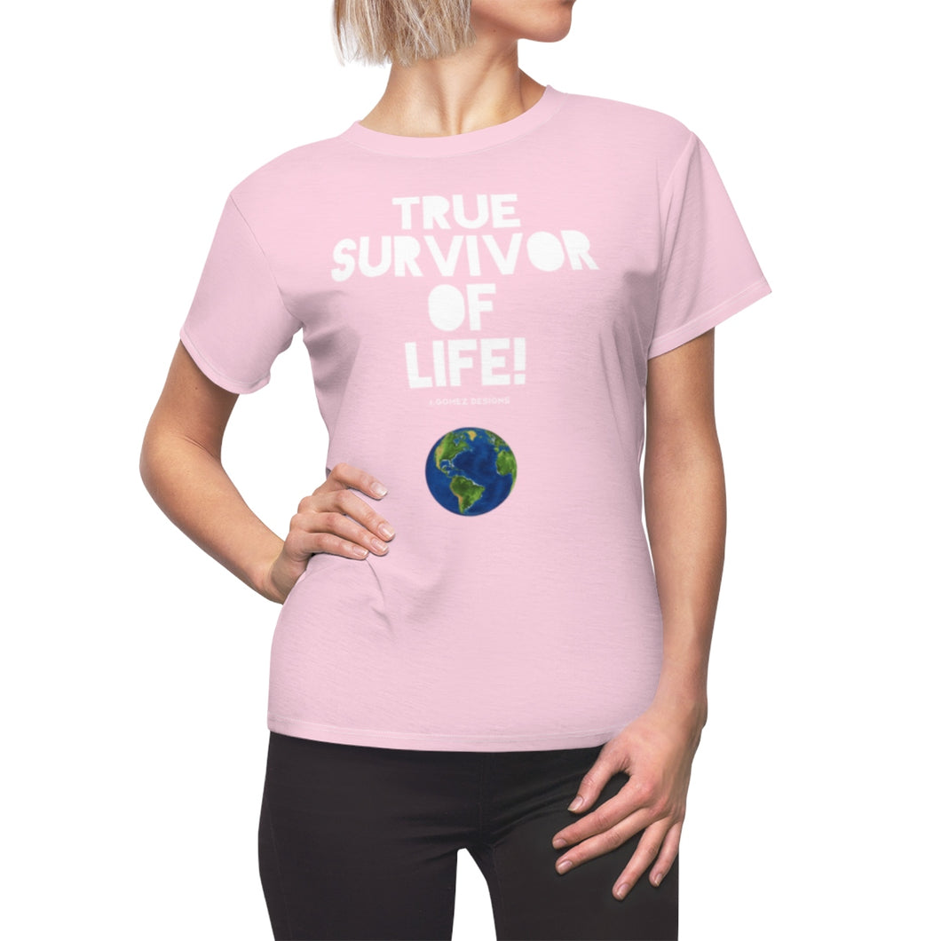 """True Survivor of Life"" Women's AOP Cut & Sew Tee"
