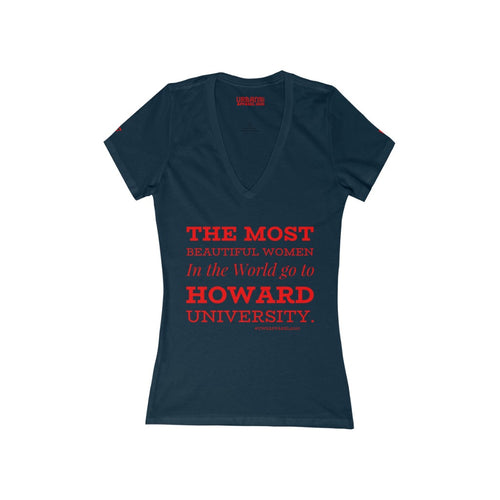 """HOWARD WOMEN"" Jersey Short Sleeve Deep V-Neck Tee"