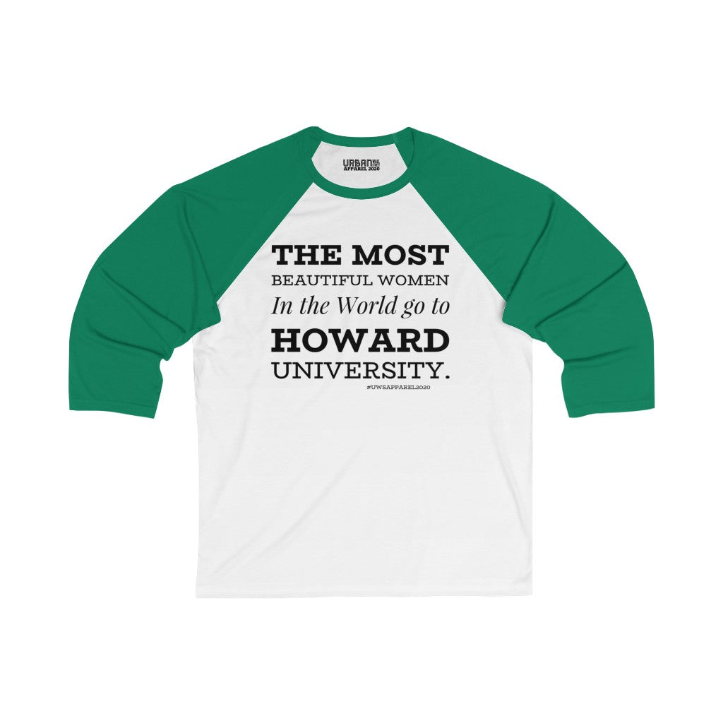 Howard Women Unisex 3/4 Sleeve Baseball Tee