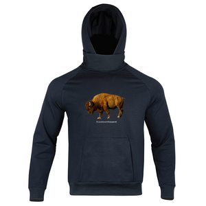 BISON Custom Men's Black Turtleneck Hoodie