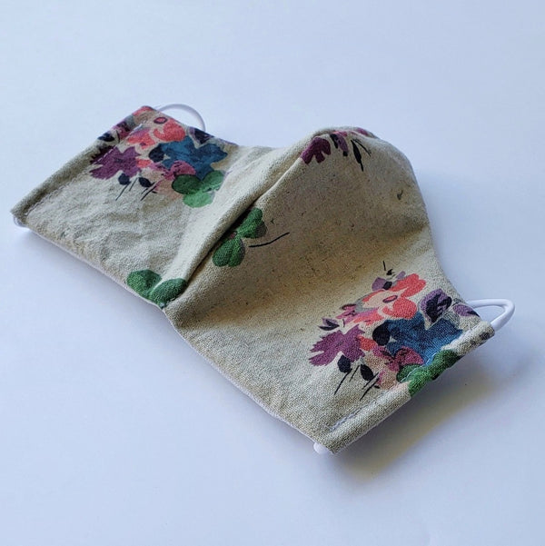 Handmade Fitted Face Mask - Colorful Flowers/Tan - PlatterCats Creative