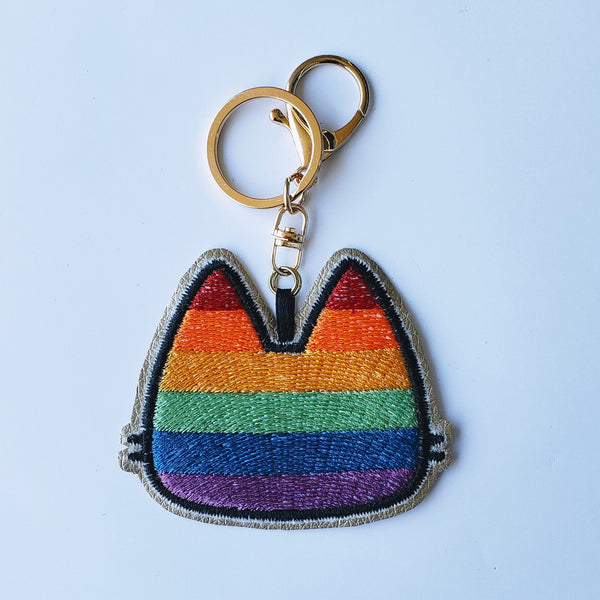 Rainbow Pride Kitty - Embroidered Keychain
