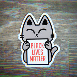 Protest Kitty for BLM - Vinyl Sticker - PlatterCats Creative