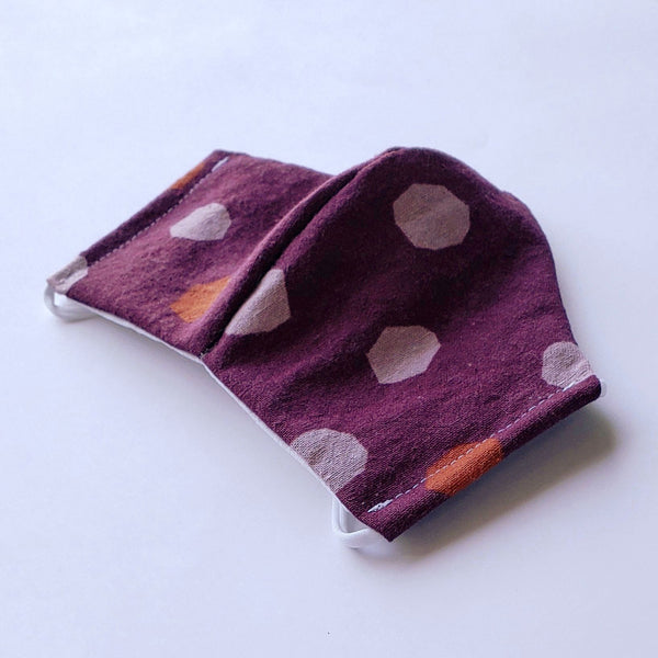 Handmade Fitted Face Mask - Polka Dots on Dark Berry - PlatterCats Creative