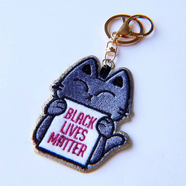 Protest Kitty for BLM - Embroidered Keychain - PlatterCats Creative