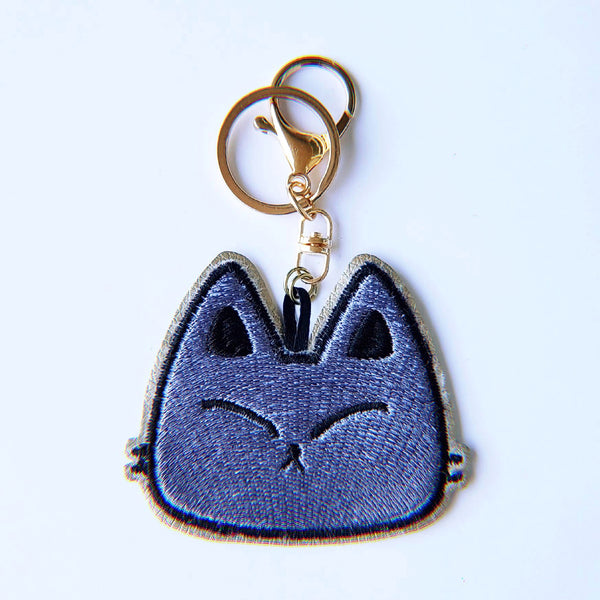 Dark Kitty Fury - Embroidered Keychain