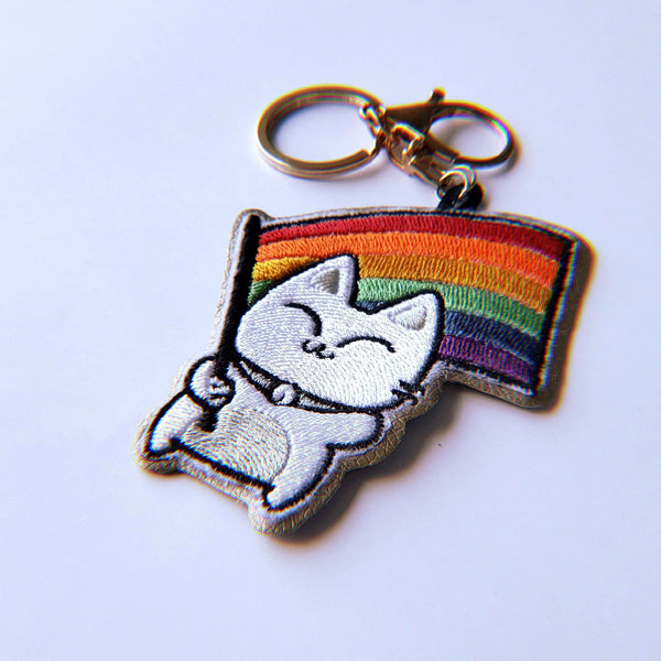 Rainbow Pride Kitty Flag - Embroidered Keychain - PlatterCats Creative