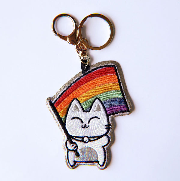 Rainbow Pride Kitty Flag - Embroidered Keychain