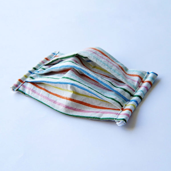 Handmade Pleated Face Mask - Rainbow Stripes on White - PlatterCats Creative