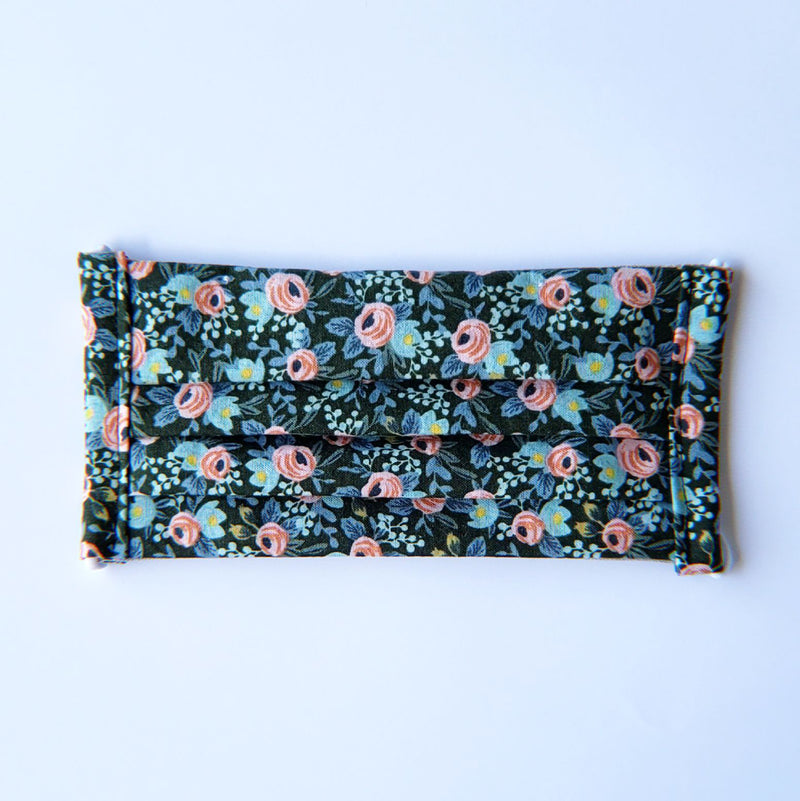 Handmade Pleated Face Mask - Pink Roses on Navy - PlatterCats Creative