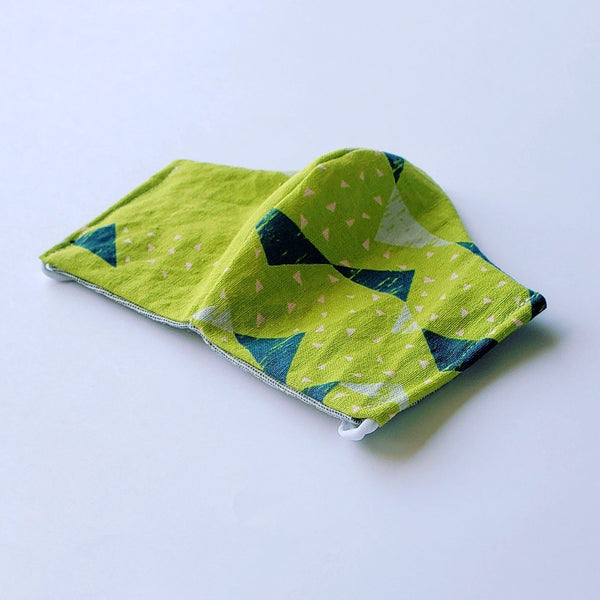 Handmade Fitted Face Mask - Geo Triangles on Lime - PlatterCats Creative