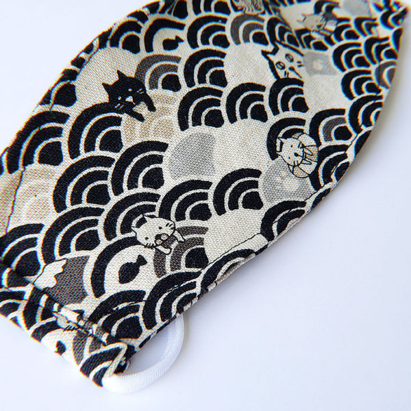LIMITED EDITION - Kitty Waves on Black - Handmade Origami Face Mask - PlatterCats Creative