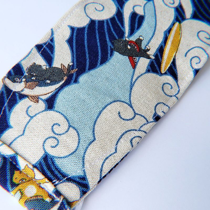 LIMITED EDITION - Surfing Ocean Wave Kitties - Handmade Origami Face Mask - PlatterCats Creative