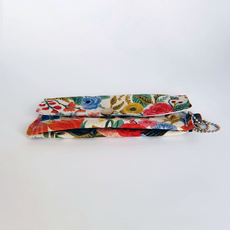 Face Mask Pouch - Floral Burst on Tan - PlatterCats Creative