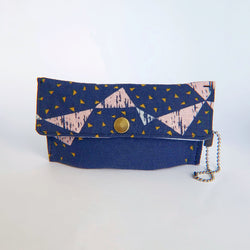 Face Mask Pouch - Geo Triangles on Blue - PlatterCats Creative