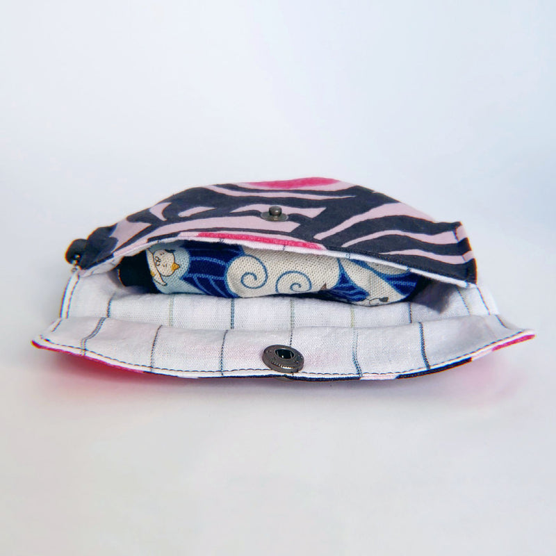 Face Mask Pouch - Pink and Black Scribbles - PlatterCats Creative