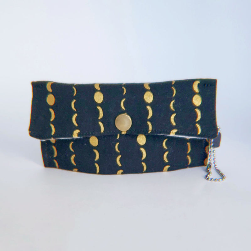 Face Mask Pouch - Gold Metallic Moons on Black - PlatterCats Creative