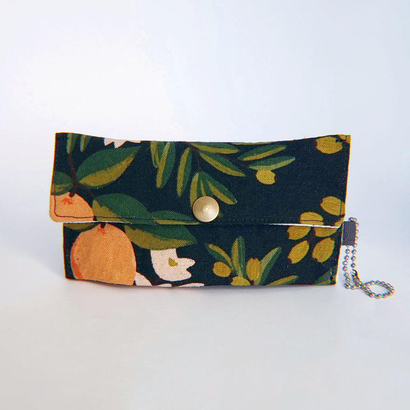 Face Mask Pouch - Citrus Floral Orange on Black - PlatterCats Creative