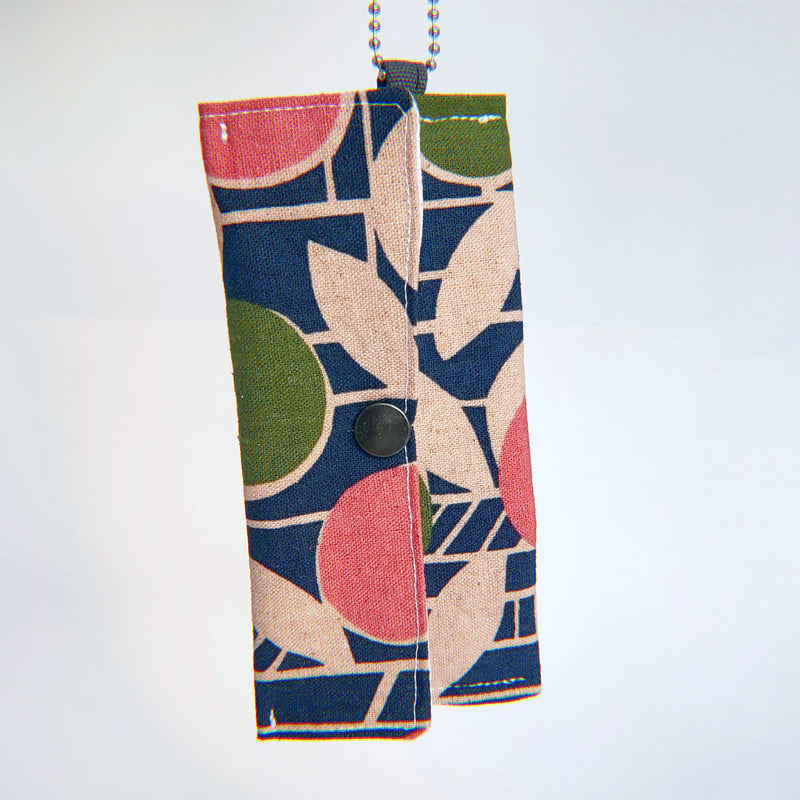 Face Mask Pouch - Abstract Citrus on Blue - PlatterCats Creative