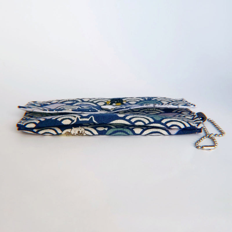 Face Mask Pouch - Kitty Waves on Navy - PlatterCats Creative