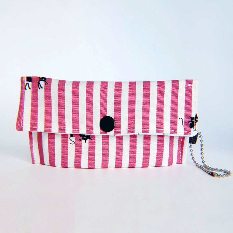 Face Mask Pouch - Pink Kitty Stripes - PlatterCats Creative