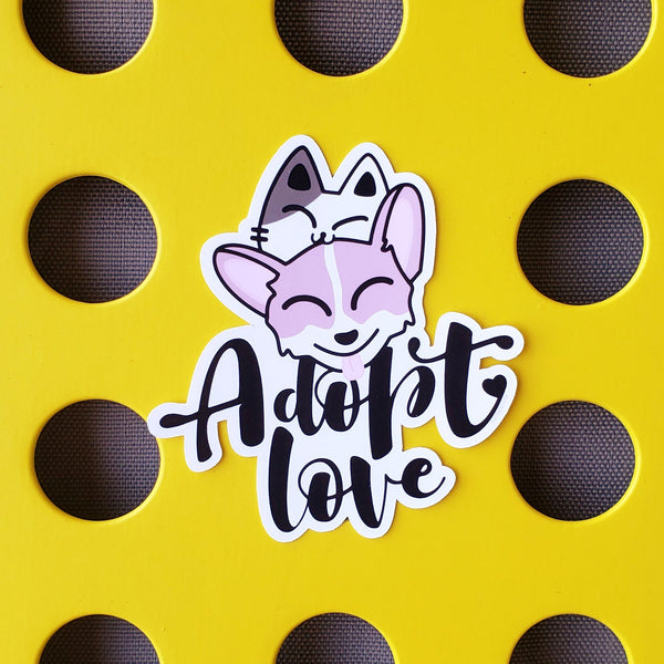 Adopt Love - Corgi + Kitty Stack - Vinyl Sticker - PlatterCats Creative