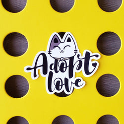 Adopt Love - Kitty - Vinyl Sticker - PlatterCats Creative