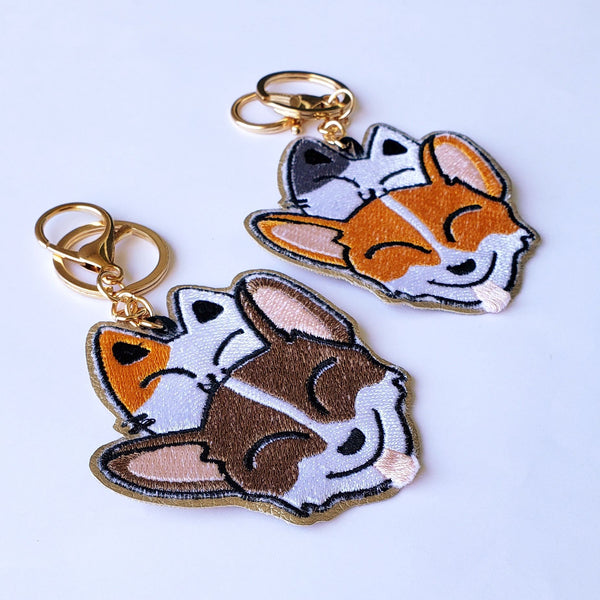 Corgi + Kitty - Embroidered Keychain - PlatterCats Creative