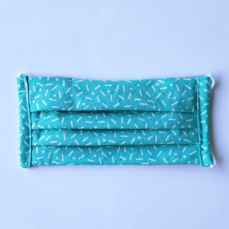 Handmade Pleated Face Mask - White Sprinkles on Turquoise/Mint - PlatterCats Creative
