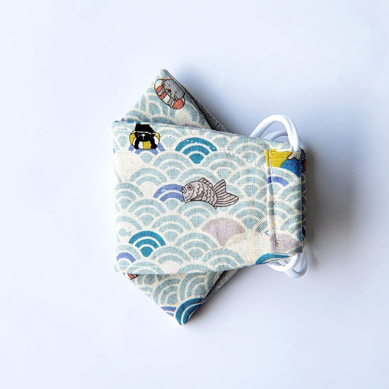 LIMITED EDITION - Kitty Waves on Turquoise - Handmade Origami Face Mask - PlatterCats Creative