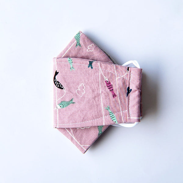 Handmade Origami Face Mask - Cute Colorful Fishies on Pink - PlatterCats Creative