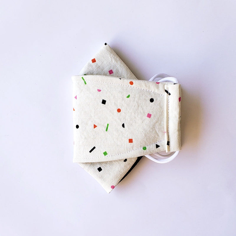Handmade Origami Face Mask - Cute Geo Sprinkles on White - PlatterCats Creative