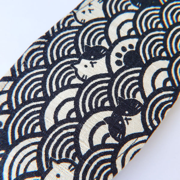 LIMITED EDITION - Waves + Cats on Black - Handmade Origami Face Mask - PlatterCats Creative