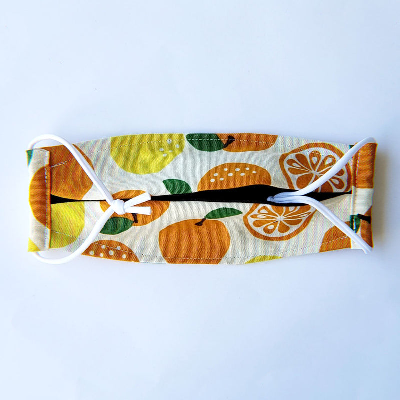 Handmade Origami Face Mask - Abstract Citrus on Cream - PlatterCats Creative