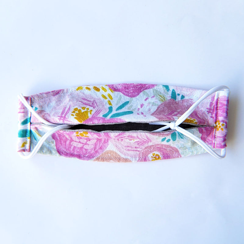 Handmade Origami Face Mask - Pink Scribble Roses on White - PlatterCats Creative